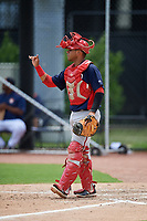 GCL Nationals catcher Wilmer Perez (14) signals to the defense during a game against the GCL Astros on August 6, 2018 at FITTEAM Ballpark of the Palm Beaches in West Palm Beach, Florida.  GCL Astros defeated GCL Nationals 3-0.  (Mike Janes/Four Seam Images)