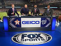 WASHINGTON DC - OCTOBER 26: Kevin Burkhardt, Alex Rodriguez, David Ortiz, and Frank Thomas at World Series Game 4: Houston Astros at Washington Nationals on Fox Sports at Nationals Park on October 26, 2019 in Washington, DC. (Photo by Frank Micelotta/Fox Sports/PictureGroup)
