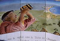 """Europe/France/Languedoc-Roussillon/66/Pyrénées-Orientales/Banyuls: vignoble de Banyuls, table d'orientation et """"Côte Vermeille"""""""