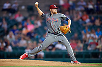 Lehigh Valley IronPigs relief pitcher Jake Thompson (23) delivers a pitch during a game against the Rochester Red Wings on June 29, 2018 at Frontier Field in Rochester, New York.  Lehigh Valley defeated Rochester 2-1.  (Mike Janes/Four Seam Images)