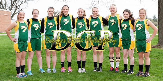 April 24, 2014- Tuscola, IL- The Hornet 8th Grade Girls Track team. From left are Morgan Stewart, Ashtyn Clark, Kameryn Kresin, Briannia Thull, Ellen Brown, Emily Lambrecht, Alexis Koester, and Machenzie Stewart. [Photo: Douglas Cottle]
