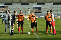 referee Lois Otte (M) with assistant referee Caroline Lanssens (L) and Elle De Vries (R) pictured during the toss of pictured with Aalst's defender Chloe Van Mingeroet (L) and Zulte Waregem's defender Pauline Windels (R) during a female soccer game between Eendracht Aalst and SV Zulte Waregem on the seventh matchday of the 2020 - 2021 season of Belgian Scooore Womens Super League , Saturday 14 th of November 2020  in Aalst , Belgium . PHOTO SPORTPIX.BE | SPP | DIRK VUYLSTEKE