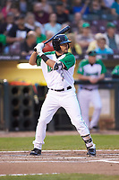 John Sansone (12) of the Dayton Dragons at bat against the Bowling Green Hot Rods at Fifth Third Field on June 8, 2018 in Dayton, Ohio. The Hot Rods defeated the Dragons 11-4.  (Brian Westerholt/Four Seam Images)