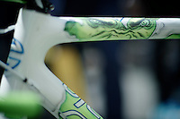 Peter 'The Green Hulk' Sagans top tube<br /> <br /> Tour de France 2013<br /> stage 13: Tours to Saint-Amand-Montrond, 173km