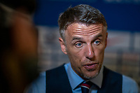 ORLANDO, FL - MARCH 05: Phil Neville of England talks to the media during a game between England and USWNT at Exploria Stadium on March 05, 2020 in Orlando, Florida.