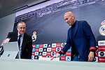 Real Madrid president Florentino Perez and coach Zinedine Zidane during press conference to announce he leave the Real Madrid in Madrid, Spain. May 31, 2018. (ALTERPHOTOS/Borja B.Hojas)