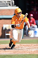 Tennessee Volunteers catcher Pete Derkay (14) swings at a pitch during a game against the South Carolina Gamecocks at Lindsey Nelson Stadium on March 18, 2017 in Knoxville, Tennessee. The Gamecocks defeated Volunteers 6-5. (Tony Farlow/Four Seam Images)