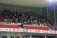 Swansea fans cheer on their team during the Barclays Premier League match between Sunderland and Swansea City played at Stadium of Light, Sunderland