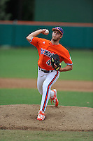 Freshman pitcher Tom Walker (46) of the Clemson Tigers in a fall practice intra-squad Orange-Purple scrimmage on Sunday, September 27, 2015, at Doug Kingsmore Stadium in Clemson, South Carolina. (Tom Priddy/Four Seam Images)