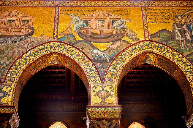 Medieval Byzantine mosaics of Noah's Arc, Monreale Cathedral, Sicily