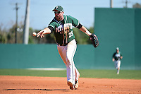 Plymouth State Panthers Brian Thompson (25) during the second game of a doubleheader against the Edgewood Eagles on March 17, 2015 at Terry Park in Fort Myers, Florida.  Edgewood defeated Plymouth State 9-2.  (Mike Janes/Four Seam Images)