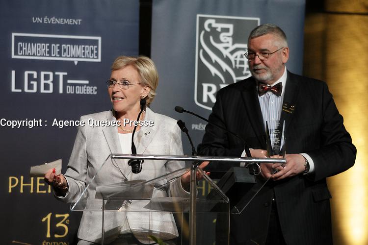 Francoise Bertrand honoree lors du<br /> 13 ieme Gala Phenicia , 25 mai 2017<br /> <br /> PHOTO : Agence Quebec Presse
