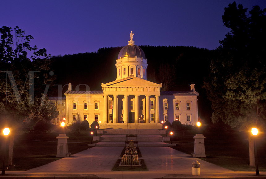 AJ4510, State House, State Capitol, Montpelier, Vermont, The State House is illuminated at night in Montpelier in the state of Vermont.