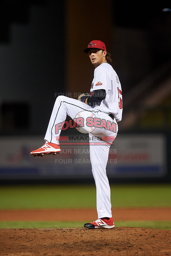 Scottsdale Scorpions relief pitcher Jackson Rees (26), of the Toronto Blue Jays organization, during an Arizona Fall League game against the Glendale Desert Dogs on September 20, 2019 at Salt River Fields at Talking Stick in Scottsdale, Arizona. Scottsdale defeated Glendale 3-2. (Zachary Lucy/Four Seam Images)