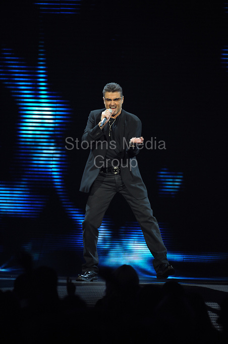 SUNRISE - FL - AUGUST 03, 2008: Singer George Michael performs ( while very sick)  at the Bank Atlantic center on August 03, 2008 in Sunrise, Florida<br /> <br /> <br /> People:  George Michael