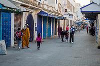 Essaouira, Morocco.  Early Morning Street Scene, Mohammed El Qorry Street, in the Medina.