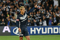 Melbourne, May 3, 2019 - Former Japanese International player Keisuke Honda (4) of Melbourne Victory celebrates a goal which resulted from his free kick in the Elimination Final of the A-League between Melbourne Victory and Wellington Phoenix at AAMI Park, Melbourne, Australia. Photo Sydney Low