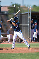 San Diego Padres second baseman Luis Almanzar (14) at bat during an Instructional League game against the Milwaukee Brewers at Peoria Sports Complex on September 21, 2018 in Peoria, Arizona. (Zachary Lucy/Four Seam Images)