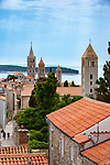 Croatia, Kvarner Gulf, Rab Island, Rab (Town): old town with its 4 bell towers, church St Ivan, St Justina, monastery St Andrija and St Marija Velika | Kroatien, Kvarner Bucht, Insel Rab, Rab (Stadt): die Altstadt mit ihren 4 Glockentuermen, Kirche St. Ivan, St. Justina, Kloster St. Andrija und St. Marija Velika