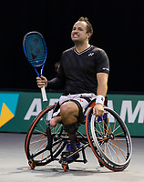Rotterdam, The Netherlands,7 march  2021, ABNAMRO World Tennis Tournament, Ahoy,  <br /> Doubles Final Wheelchair: Tom Egberink (NED).<br /> Photo: www.tennisimages.com/henkkoster