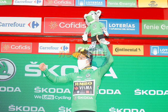 Race leader Primoz Poglic (SLO) Team Jumbo-Visma also retains the points Green Jersey at the end of Stage 16 of the Vuelta Espana 2020, running 160km from Salamanca to Ciudad Rodrigo, Spain. 6th November 2020. <br /> Picture: Luis Angel Gomez/PhotoSportGomez | Cyclefile<br /> <br /> All photos usage must carry mandatory copyright credit (© Cyclefile | Luis Angel Gomez/PhotoSportGomez)