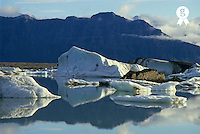 Iceland, Jokulsarlon lagoon, floatting field of Icebergs in summer (Licence this image exclusively with Getty: http://www.gettyimages.com/detail/sb10066434i-001 )