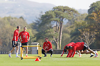 Pictured L-R: Chris Gunter, Gareth Bale and Har Robson-Kanu in action. Monday 31 August 2020<br /> Re: Wales football training ahead of their game against Finland, at the Vale Resort in Hensol, Wales, UK.