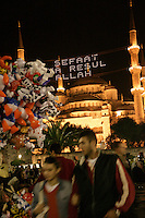 OUTSIDE THE BLUE MOSQUE AT RAMADAN, ISTANBUL, TURKEY