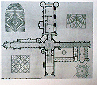 Fonthill Abbey floorplan, 1796-1807. Designed by James Wyatt for William Beckford.A large Gothic country house at Fonthill Gifford in Wiltshire, England.