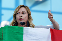 "Italian far-right Brothers of Italy party's leader Giorgia Meloni speaks on the stage during the so-called ""Italian Pride!"" political rally against government's economic policies in St. John Lateran Square, Rome, Italy, October 19, 2019.<br /> Update Images Press/Riccardo De Luca"