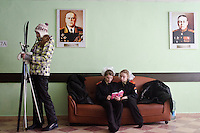 RUSSIA, Moscow, 02.2011. ©  Sergey Kozmin/EST&OST.The Moscow Girls Cadet Boarding School. There are portraits of famous Soviet WWII generals Georgiy Zhukov and Rodion Malinovskiy on the walls in the lobby.