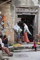 Zanzibar, Tanzania.  Stone Town Street Corner Shop.