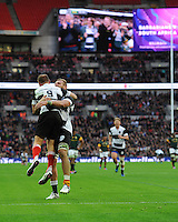Andy Ellis (Crusaders, Kobelco Steelers & New Zealand) of Barbarians celebrates scoring a try with Brad Shields (Hurricanes) of Barbarians during the Killik Cup match between Barbarians and South Africa at Wembley Stadium on Saturday 5th November 2016 (Photo by Rob Munro)