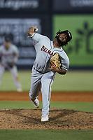 Delmarva Shorebirds relief pitcher Gregori Vasquez (29) in action against the Pescados de Carolina at Five County Stadium on September 4, 2021 in Zebulon, North Carolina. (Brian Westerholt/Four Seam Images)