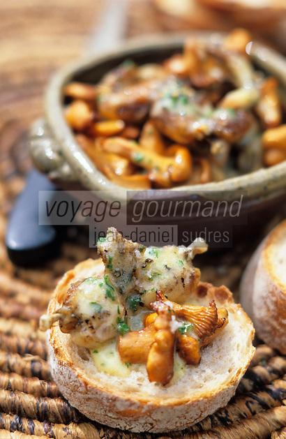 """Europe/France/Auvergne/63/Puy-de-Dôme/Env de Pontgibaud/La Courteix: Poélée de girolles et cuisses de grenouilles - Recette de P: Brossard du restaurant """"l'Ours des Roches"""""""