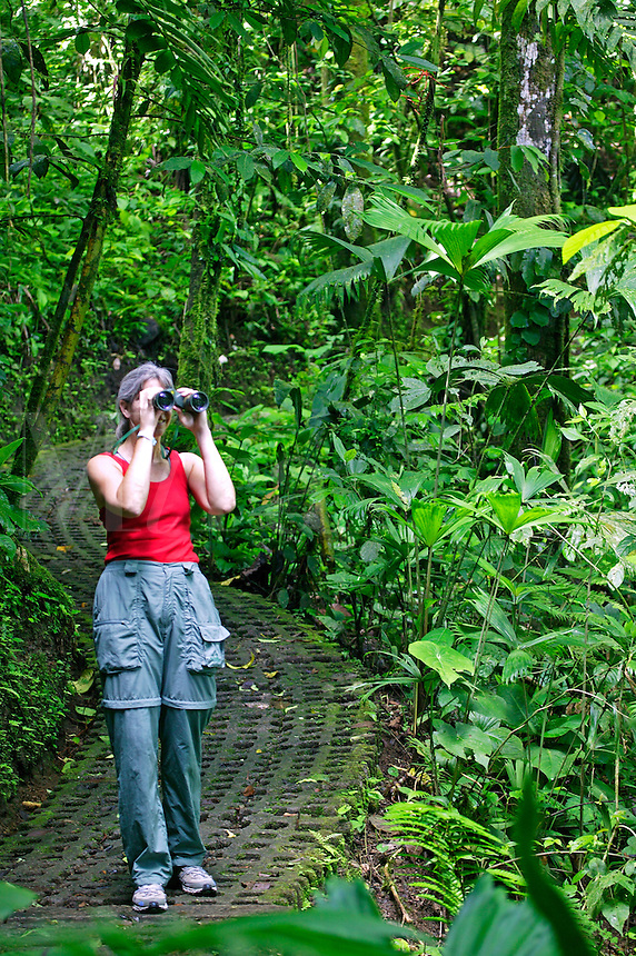 A visitor (mr) on the Arenal Hanging Bridges Trail, Arenal, Costa Rica