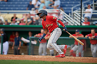State College Spikes Moises Castillo (29) bats during a NY-Penn League game against the Batavia Muckdogs on July 2, 2019 at Dwyer Stadium in Batavia, New York.  Batavia defeated State College 1-0.  (Mike Janes/Four Seam Images)