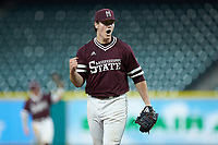 Mississippi State Bulldogs relief pitcher Cole Gordon (24) celebrates a strike out against the Louisiana Ragin' Cajuns in game three of the 2018 Shriners Hospitals for Children College Classic at Minute Maid Park on March 2, 2018 in Houston, Texas.  The Bulldogs defeated the Ragin' Cajuns 3-1.   (Brian Westerholt/Four Seam Images)
