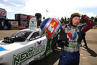 Nov. 13, 2011; Pomona, CA, USA; NHRA top fuel dragster driver Jack Beckman during the Auto Club Finals at Auto Club Raceway at Pomona. Mandatory Credit: Mark J. Rebilas-.