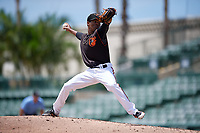 GCL Orioles pitcher Yeancarlos Lleras (26) during a Gulf Coast League game against the GCL Red Sox on July 29, 2019 at Ed Smith Stadium in Sarasota, Florida.  GCL Red Sox defeated the GCL Pirates 9-1.  (Mike Janes/Four Seam Images)