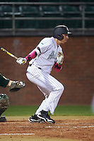 Stetson Hatters center fielder Vance Vizcaino (29) at bat during a game against the Siena Saints on February 23, 2016 at Melching Field at Conrad Park in DeLand, Florida.  Stetson defeated Siena 5-3.  (Mike Janes/Four Seam Images)