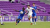 Orlando, Florida - Saturday January 13, 2018: Edward Opoku and Pol Calvet Planellas. Match Day 1 of the 2018 adidas MLS Player Combine was held Orlando City Stadium.
