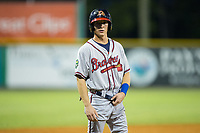 Drew Waters (12) of the Danville Braves stands on third base during the game against the Burlington Royals at Burlington Athletic Stadium on August 15, 2017 in Burlington, North Carolina.  The Royals defeated the Braves 6-2.  (Brian Westerholt/Four Seam Images)