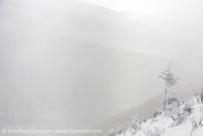 Strong winds blow snow across the valley along the Old Bridle Path during the winter months in the White Mountains, New Hampshire USA.