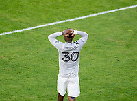 WASHINGTON, DC - NOVEMBER 8: Romell Quioto #30 of the Montreal Impact reacts to.a missed chance during a game between Montreal Impact and D.C. United at Audi Field on November 8, 2020 in Washington, DC.