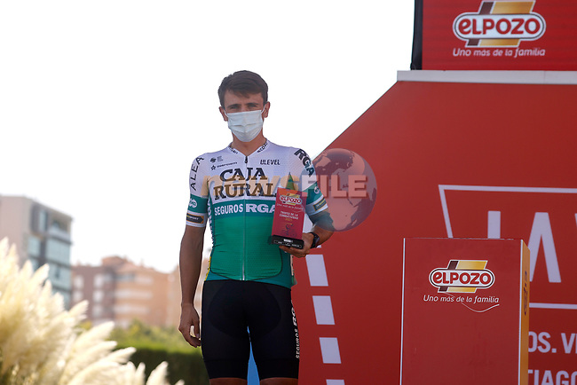 Jonathan Lastra (ESP) Caja Rural-Seguros RGA most aggressive rider from yesterday's stage at sign on before the start of Stage 12 of La Vuelta d'Espana 2021, running 175km from Jaén to Córdoba, Spain. 26th August 2021.     <br /> Picture: Luis Angel Gomez/Photogomezsport | Cyclefile<br /> <br /> All photos usage must carry mandatory copyright credit (© Cyclefile | Luis Angel Gomez/Photogomezsport)