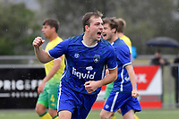 Kieran McMinn of Petone FC celebrates a goal during the Central League Football - Petone FC v Lower Hutt AFC at Petone Memorial Park, Lower Hutt, New Zealand on Friday 2 April 2021.<br /> Copyright photo: Masanori Udagawa /  www.photosport.nz