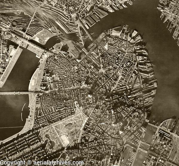 historical aerial photograph Boston, Massachusetts, 1938
