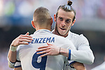 Karim Benzema of Real Madrid celebrates with teammate Gareth Bale during their La Liga match between Real Madrid and Deportivo Alaves at the Santiago Bernabeu Stadium on 02 April 2017 in Madrid, Spain. Photo by Diego Gonzalez Souto / Power Sport Images