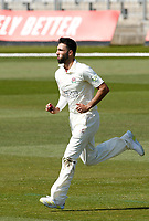 16th April 2021; Emirates Old Trafford, Manchester, Lancashire, England; English County Cricket, Lancashire versus Northants; Saqib Mahmood of Lancashire comes in to bowl from the James Anderson End